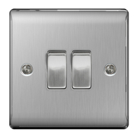 BG Nexus Metal Brushed Steel Light Switch 2G 2W NBS42