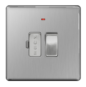 BG Nexus Brushed Steel Screwless 13A Switched Fused Connection Unit Neon FBS52
