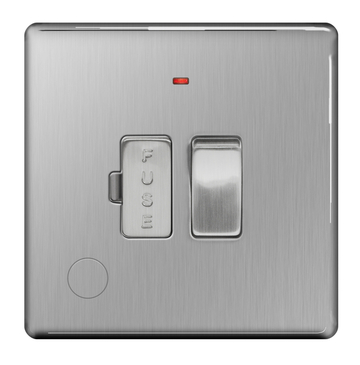 BG Nexus Brushed Steel Screwless 13A Switched Fused Connection Unit Neon Flex Outlet FBS53