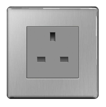 BG Nexus Brushed Steel Screwless 13A Unswitched Socket FBSUSS