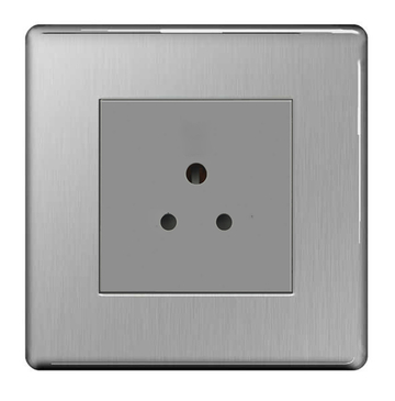 BG Nexus Brushed Steel Screwless 2A Unswitched Socket FBS28G