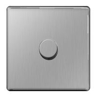 BG Nexus Brushed Steel Screwless Dimmer 1G FBS81P