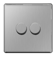 BG Nexus Brushed Steel Screwless Dimmer 2G FBS82P