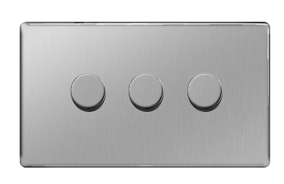 BG Nexus Brushed Steel Screwless Dimmer 3G FBS83P