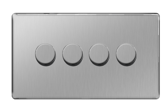 BG Nexus Brushed Steel Screwless Dimmer 4G FBS84P