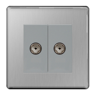 BG Nexus Brushed Steel Screwless Double Coax TV Socket FBS61