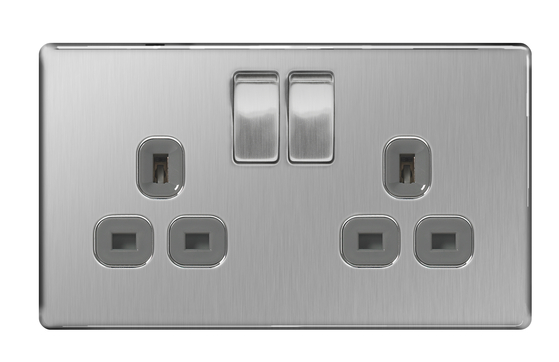 BG Nexus Brushed Steel Screwless Double Socket FBS22G