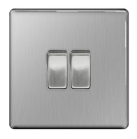 BG Nexus Brushed Steel Screwless Light Switch 2G FBS42