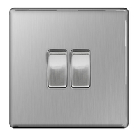 BG Nexus Brushed Steel Screwless 2G Intermediate Light Switch FBS2GINT