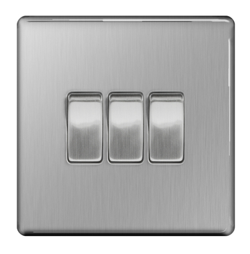 BG Nexus Brushed Steel Screwless Light Switch 3G FBS43