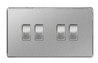 BG Nexus Brushed Steel Screwless Light Switch 4G FBS44