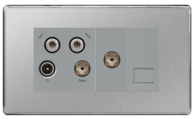 BG Nexus Brushed Steel Screwless Quadplex TV-FM-SAT (X2) & Return Tel Socket FBS69