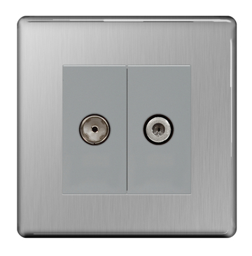 BG Nexus Brushed Steel Screwless Double Satellite Socket FBS642