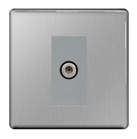 BG Nexus Brushed Steel Screwless Satellite Socket FBS64