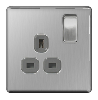 BG Nexus Brushed Steel Screwless Single Socket FBS21G