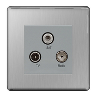 BG Nexus Brushed Steel Screwless Triplex Socket FBS67