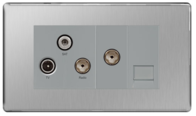 BG Nexus Brushed Steel Screwless Triplex TV-FM-SAT & Return Tel Socket FBS68