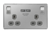 BG Nexus Brushed Steel Screwless USB Double Socket FBS22U3G
