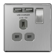 BG Nexus Brushed Steel Screwless USB Single Socket FBS21UG