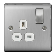 BG Nexus Metal Brushed Steel Single Socket White Inserts NBS21W