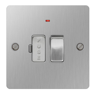 BG Nexus Flatplate Screwed 13A Switched Spur Unit With LED Indicator Brushed Steel SBS52