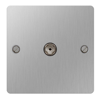 BG Nexus Flatplate Screwed Co-Axial TV 1G Socket Brushed Steel SBS60
