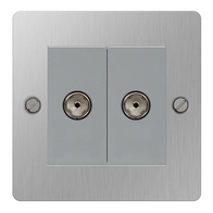 BG Nexus Flatplate Screwed Co-Axial TV 2G Socket Brushed Steel SBS61
