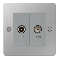 BG Nexus Flatplate Screwed Diplex Socket Brushed Steel SBS66