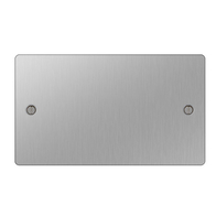BG Nexus Flatplate Screwed Double 2G Blank Plate Brushed Steel SBS95