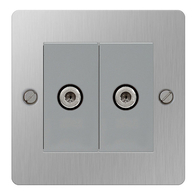 BG Nexus Flatplate Screwed Double Satellite Socket Brushed Steel SBS642