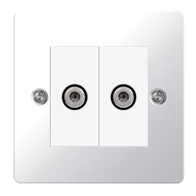 BG Nexus Flatplate Screwed Double Satellite Socket Polished Chrome SPC642