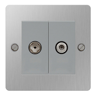 BG Nexus Flatplate Screwed Double Satellite & TV Socket Brushed Steel SBS65