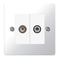 BG Nexus Flatplate Screwed Double Satellite & TV Socket Polished Chrome SPC65