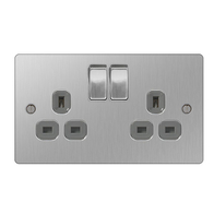 BG Nexus Flatplate Screwed Double Switched Socket Brushed Steel SBS22G