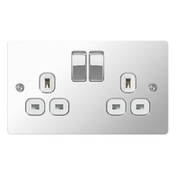 BG Nexus Flatplate Screwed Double Switched Socket Polished Chrome SPC22W