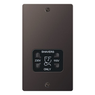 BG Nexus Flatplate Screwed Dual Voltage Shaver Socket Black Nickel SBN20B