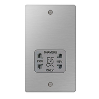 BG Nexus Flatplate Screwed Dual Voltage Shaver Socket Brushed Steel SBS20G