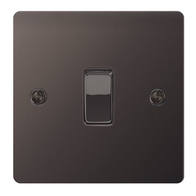 BG Nexus Flatplate Screwed Light Switch 1G 2W Black Nickel SBN12
