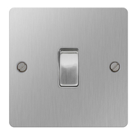 BG Nexus Flatplate Screwed Light Switch 1G 2W Brushed Steel SBS12