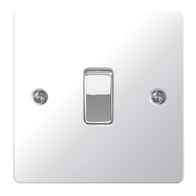 BG Nexus Flatplate Screwed Light Switch 1G 2W Polished Chrome SPC12