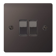 BG Nexus Flatplate Screwed Light Switch 2G Black Nickel SBN42