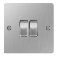 BG Nexus Flatplate Screwed Light Switch 2G Brushed Steel SBS42