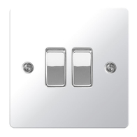 BG Nexus Flatplate Screwed Light Switch 2G Polished Chrome SPC42