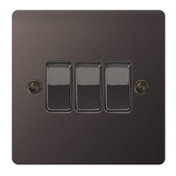 BG Nexus Flatplate Screwed Light Switch 3G 2W Black Nickel SBN43