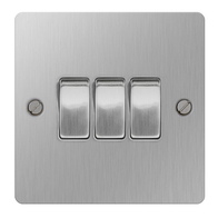 BG Nexus Flatplate Screwed Light Switch 3G 2W Brushed Steel SBS43
