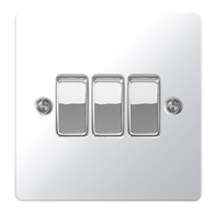 BG Nexus Flatplate Screwed Light Switch 3G 2W Polished Chrome SPC43