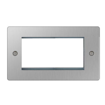 BG Nexus Flatplate Screwed Quad Euro Module Front Plate Brushed Steel SBSEMR4