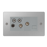 BG Nexus Flatplate Screwed Quadplex-Return & 1G TV Socket Brushed Steel SBS69