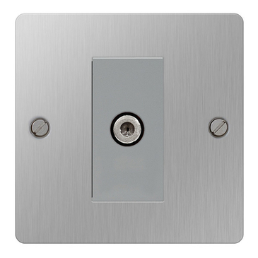 BG Nexus Flatplate Screwed Satellite Socket Brushed Steel SBS64