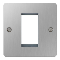 BG Nexus Flatplate Screwed Single Euro Module Front Plate Brushed Steel SBSEMS1